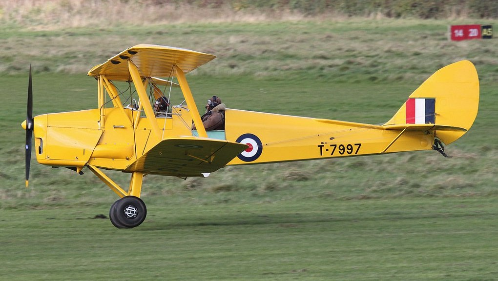 Trial flight in Biplane G-AHUF